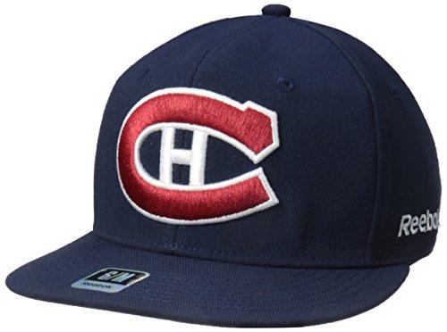 - NHL Montreal Canadiens Men's SP17 Oversized Logo Flat Visor Flex Cap, Navy, Small/Medium
