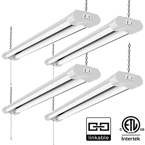 Lzhome(4-Pack) Linkable LED Shop Light for garages,4FT 4500LM,40W 5000K Daylight White, LED Wrapround Light, with Pull Chain (ON/Off),Linear Worklight Fixture with Plug (4 Pack)