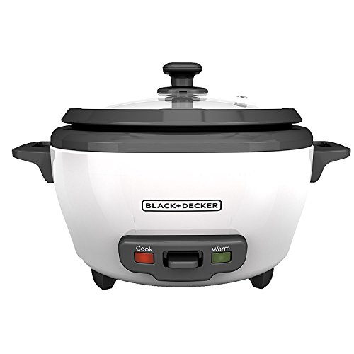 BLACK+DECKER 2-in-1 Rice Cooker and Food Steamer, 6 Cup (3 Cup Uncooked), White, RC506C
