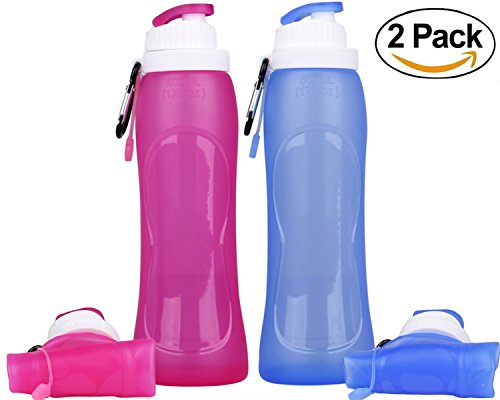 KCOGOO 2 Pack Collapsible Silicone Water bottle, Couples Leak-Proof lightweight portable cup roll up for Outdoors, Hiking, Camping, Biking, Sports and Traveling 17oz(500ml)