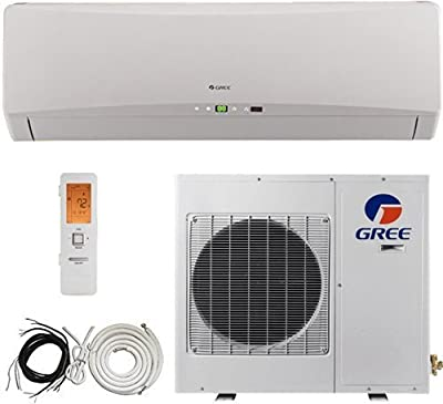 Gree 25 Seer Energy Star 1 Ton Ductless Mini Split Air Conditioner System, Heat Pump, 12000 Btu, Inverter, Cooling, Heating, Dehumidification. Includes 15 Foot Installation Kit. 220~240 VAC