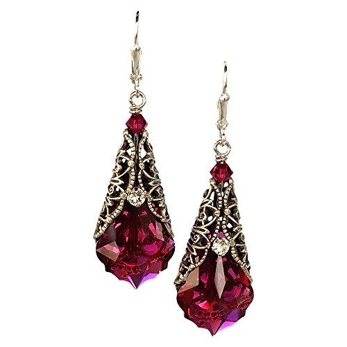 - HisJewelsCreations Romantic Red Vintage Inspired Filigree Baroque Crystal Earrings