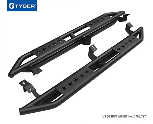 Tyger Auto TG-AM2T20188 Star Armor Kit for 2005-2018 Toyota Tacoma Access Cab | Textured Black | Side Step Rails | Nerf Bars | Running Boards (Access Cab Nerf Bar Step)