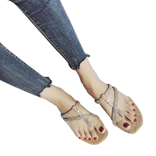 Cross Rome Sandale Strass Kaki 39 35 Tied Toe Vacances de Vent Femmes Noir Plage Filles Sonnena Pantoufles Beige Chaussures Flat Clip r7rCP