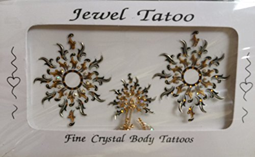 VAJAZZLE BREAST NIPPLE SET TATTOOS BY DEFINITIONS WITH SWAROVSKI ELEMENTS (BLACK GOLD) ()