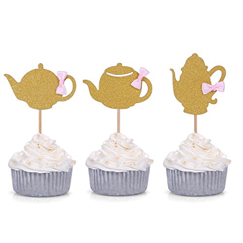 3 Patterns Set of 18 Golden Glitter Teapot Cupcake Toppers Tea Party Baby Shower Decors - by Giuffi