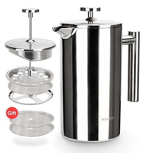Secura French Press Coffee Maker, 304 Grade Stainless Steel Insulated Coffee Press with 2 extra Screens, 34oz (1 Litre), Silver