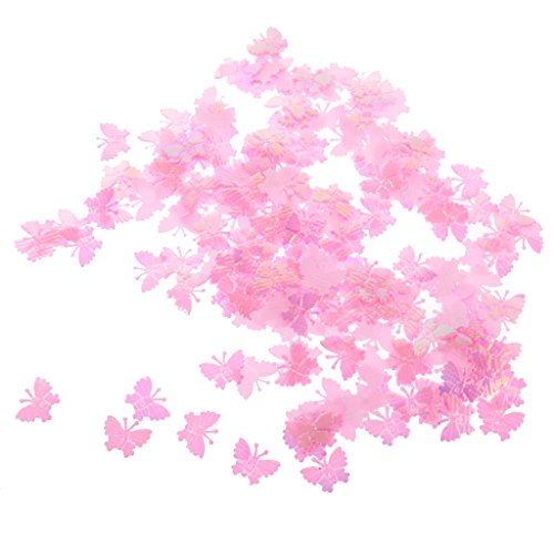 Dovewill Approx.200pcs Shiny Butterfly Wedding Confetti Table Centerpieces Scrapbooking Embellishment DIY Craft - Pink ()