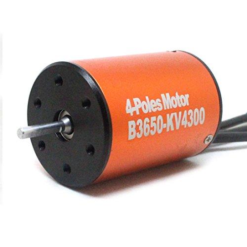 Alluing 3650 4300KV Length 50mm Sensorless Brushless Motor for 1/10 RC Car (orange) by Alluing (Image #1)
