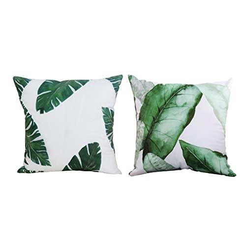 Leaf Design Set (BLEUM CADE Pillow Cushions Cover Throw Pillow Cover Christmas Square Throw Pillow Cover Decorative Cushion Pillowcase Leaves Cushion Case Pillowslip Pillowcase for Sofa Set 2 (18