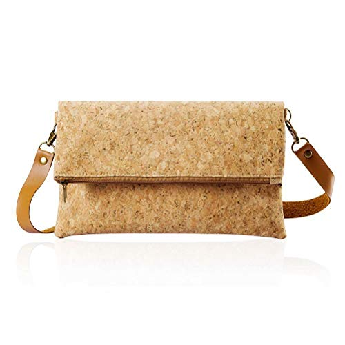 (Cross Body Bag Small Clutch Purse Fold Over Light ECO Cork For Women Girl)