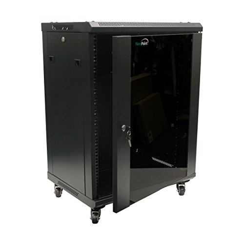 NavePoint 15U Wall Mount Network Server Cabinet Rack Enclosure Glass Door Lock w/Casters ()