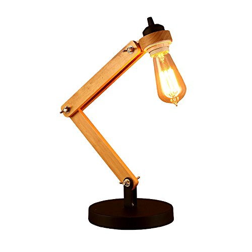 KMYX Retro Single Folding Desk Lamp 2-Arm Adjustable Wooden Desk Lamp E27 Socket Simple Desk Lights for Bedroom Study Office Dorm Bar Industrial Style
