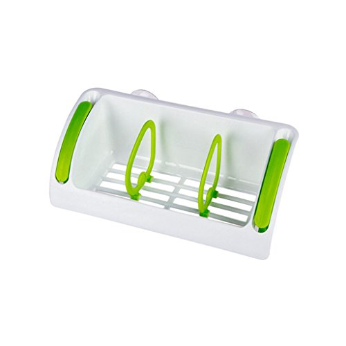 MOOLO Storage Racks Kitchen Storage Wall Shelf Multifunction Plastic Suction Cup Sponge Holder Bathroom Organizer Soap Rack (Color : Green) by MOOLO