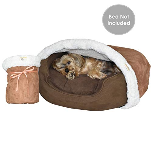 BedHug | Pet Burrow Blanket | for Dogs & Puppies | Naturally Relieves Stress, Separation Anxiety & Nervousness | Ultra Cozy & Plush | Attaches to Your Own Pet Bed | Caramel, Small
