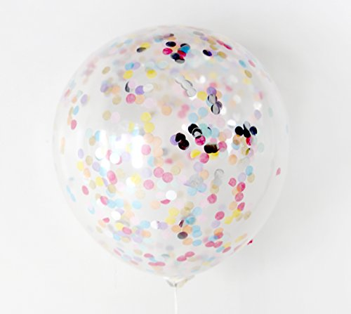 """Confetti Balloon Kids Birthday Party Elephant Balloon Animals Theme Decoration (Confetti already filled, No more mess, Thickened 12"""" 20pcs + 43"""" Foil Balloon) Photobooth (Colorful Elephant)"""