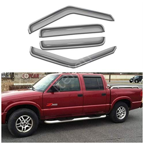 itelleti 4pcs Outside Mount Dark Smoke Sun/Rain Guard Front+Rear Tape-On Auto Window Visors For 01-04 Chevy S10 GMC S15 Sonoma Crew Cab With 4 Full Size Doors