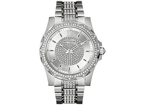 Wittnauer Men's Chevron Crystal Accent Stainless Steel Bracelet - Bulova Steel Multifunction Stainless Watch