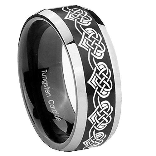 AnyaDesign Tungsten Celtic Knot Heart Shape Ring, 8mm Bevel Edges Brushed Black Two Tone Mens Wedding Band, Tungsten Rings for Men-12.5
