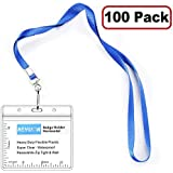 KEYLION Horizontal Nametag Name Badge Holder with Woven Lanyard Sets (Blue, Non-Breakaway,100 Pack)- Thick Flat Neck Lanyard with Heavy Duty Clear Plastic Waterproof Type Resealable Zip Sleeve Pouch