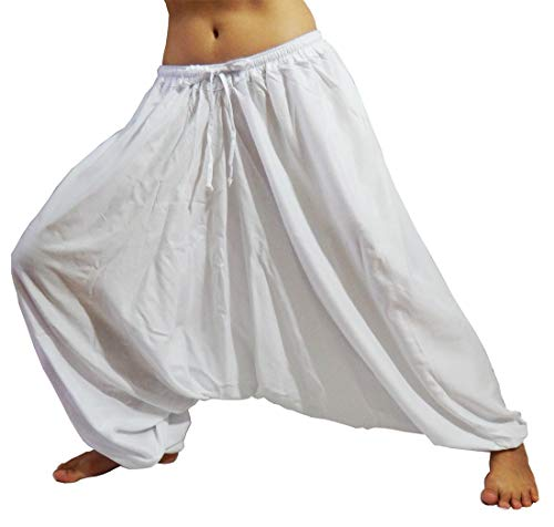 Lovely Creations Women's Unisex Plus Size Rayon Baggy Aladdin Hippy Yoga Harem Pants Adjustable Waist US Size 4-14 (Hc White) -