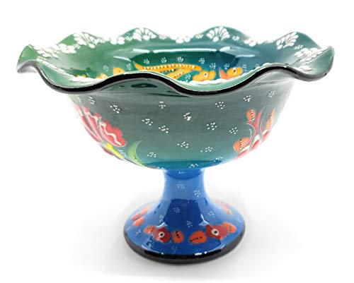 Handmade Turkish Traditional Ceramic Pottery Candy Dish or Server (Green to ()