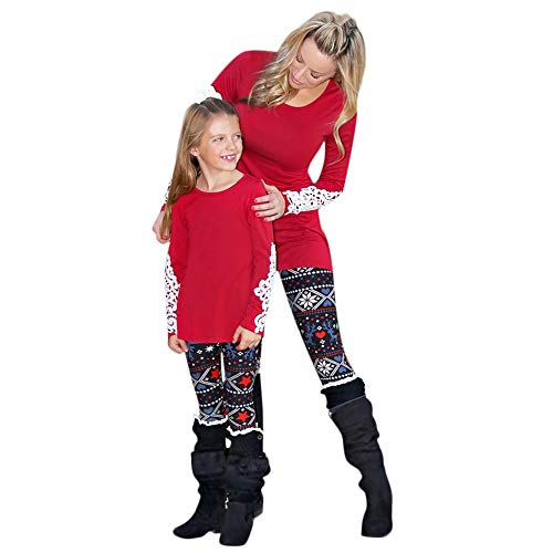 HYIRI Christmas Mommy &Me Women Deer Star Warm Print Pants Family Leggings Pencil Clothes