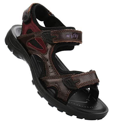 DADAWEN Boys Girls Leather Outdoor Hiking Sandals Summer Beach Adjustable Strap Sport Sandal Brown US Size 4 M Big Kid Boys Brown Leather Sandals