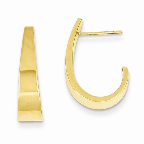 Medium Earrings 5mm Hoop (14k Yellow Gold Medium Polished J Hoop Earrings (19mm x 5mm))