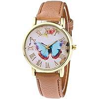 Women Girls Analog Quartz Watches with Leather Band Cuekondy Fashion Butterfly Style Business Dress Wrist Watch Bracelet (Khaki)