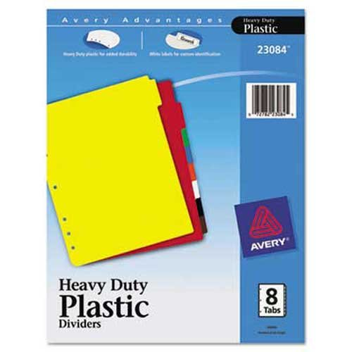 Avery 23084 Plastic Index Dividers White Self-Stick Labels 8