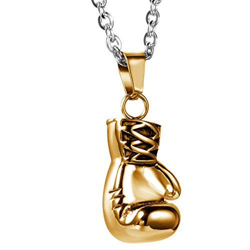 Flongo Stainless Boxing Pendant Necklace