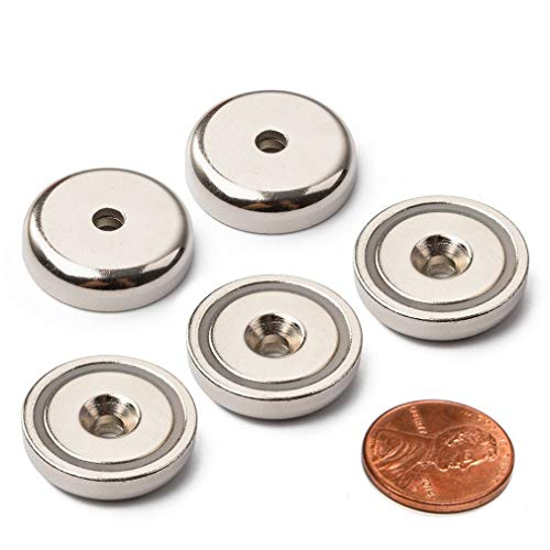Neodymium Pot Magnets - Bulk Pack of 5 pc- 20+ LB Strength - Countersunk Hole with Mounting Screws