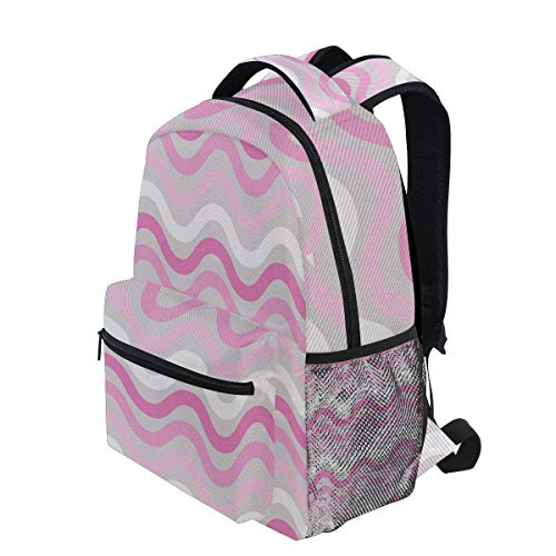 Repeating Stripe - KVMV Horizontal Wavy Stripes Repeating Abstract Curves Pastel Colors Lightweight School Backpack Students College Bag Travel Hiking Camping Bags