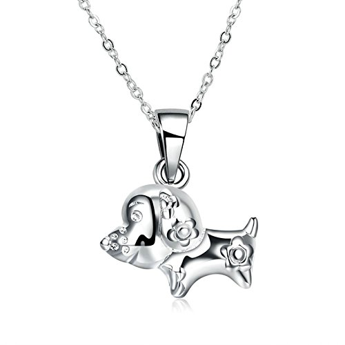 (MoAndy Jewelry Silver Plated Men Women Necklace Chain Zodiac Dog White Length 45CM)
