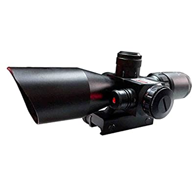 Pinty Tactical Rifle Scope 2.5-10x40 Mil-dot Dual illuminated with Red Laser & Mount