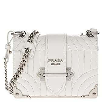 3fee6eac295e Image Unavailable. Image not available for. Color: Prada Women's Quilted Cahier  Shoulder bag White