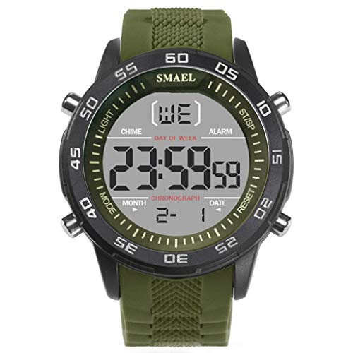 Sport Watches for Men, Casual Analog Digital Luminous Dial Resin Band Waterproof Outdoor Watch (Army Green)