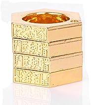 AMOY TANG Hexagon Retro Ring for Women Outdoor/Safe 4-Finger Ring