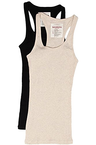 (Trendyfriday Women's Ribbed Racerback Athletic Active Tank Tops 2 or 4 Packs (Medium, 2 Pack - Black, H Beige))