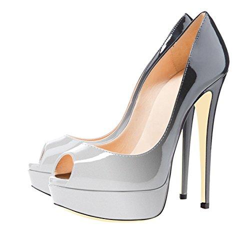 Mujer Grandes coloreado Zapatillas Plataforma Sin Tallas Tacon de Cordones Zapatos Sandalias uBeauty Gris TqBOCC