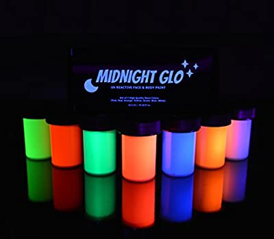 UV Neon Face & Body Paint Glow - Top Rated Blacklight Reactive Fluorescent Paint - Safe, Washable, Non-Toxic, (Set of 7 Bottles .75 oz OR 2 oz.) Great For Raves, Parties, Festivals! By Midnight Glo