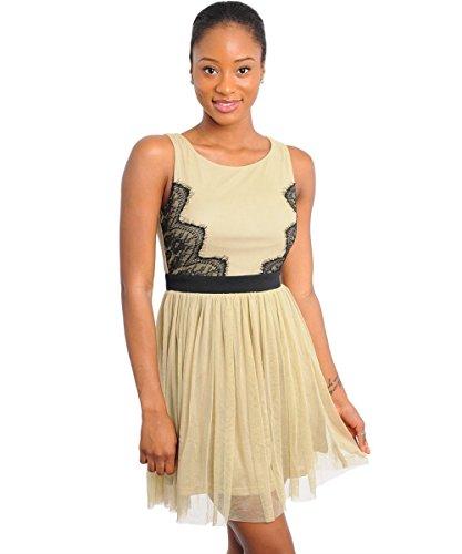2LUV Women's Sleeveless Lace Trim Babydoll Dress Tan S(JD8595)