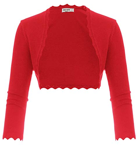 - Scalloped Cropped Bolero Jacket Cardigan for Evening Dress Red Size XL CL960-4