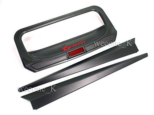 Carbon Black Matt Rear Tailgate Handle Cover Hatch Trim Bezel Accent Lid For Isuzu Dmax D-max Pickup 2012-2014