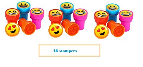 (RIN (48) Emoji Stampers ~ 1.38'' Emoticon Party Favors ~Teacher Prize ~ Secret Santa ~ Giveaway ~ Birthday Goody Bag Fillers ~ Fair Prize ~ Toy)