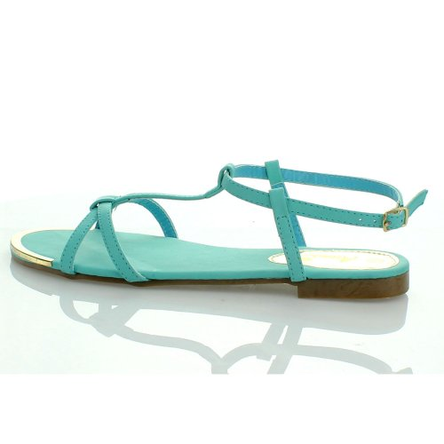 ANNA VITA-3 Women Ankle Strappy T-Strap Metallic Acent Flat Gladiator Sandal, Color:MINT, Size:8