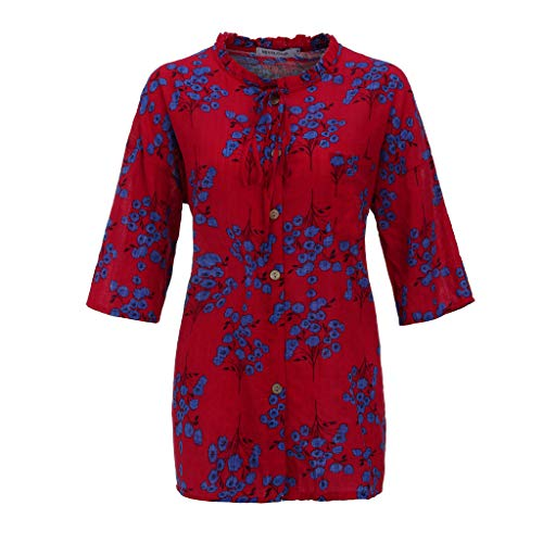 - TnaIolral 2019 Ladies Blouse Plus Size Print Pocket Bandage Summer Linen O-Neck T-Shirt (L, Red)