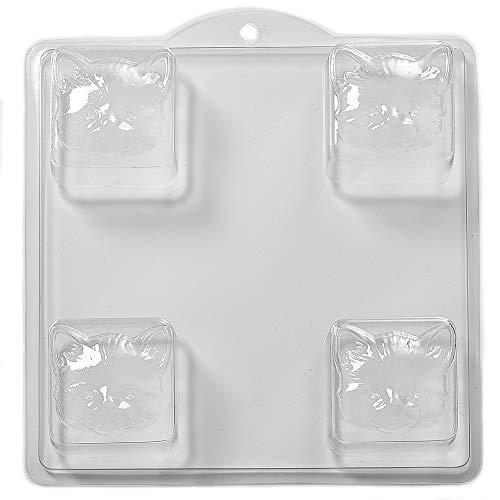 4 Cavity Square Cat Face Soap/Bath Bomb Mould Mold L13 World Of Moulds