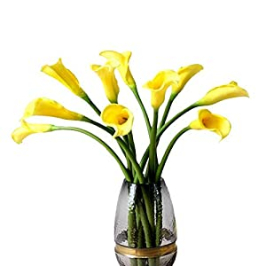 """5pcs Artificial Flowers 21"""" PU Mini Calla Lily Bridal Wedding Bouquet Head Latex Real Touch Flower Bouquets (Yellow) 27"""